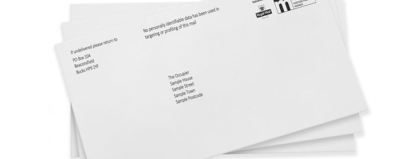 Partially addressed mail blog envelopes